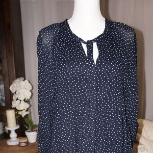 Tahari Polka Dot Navy & White Drop Waist Dress